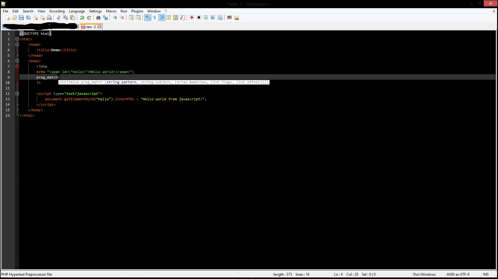 Notepad++ document demonstrating highlighting and code-hinting