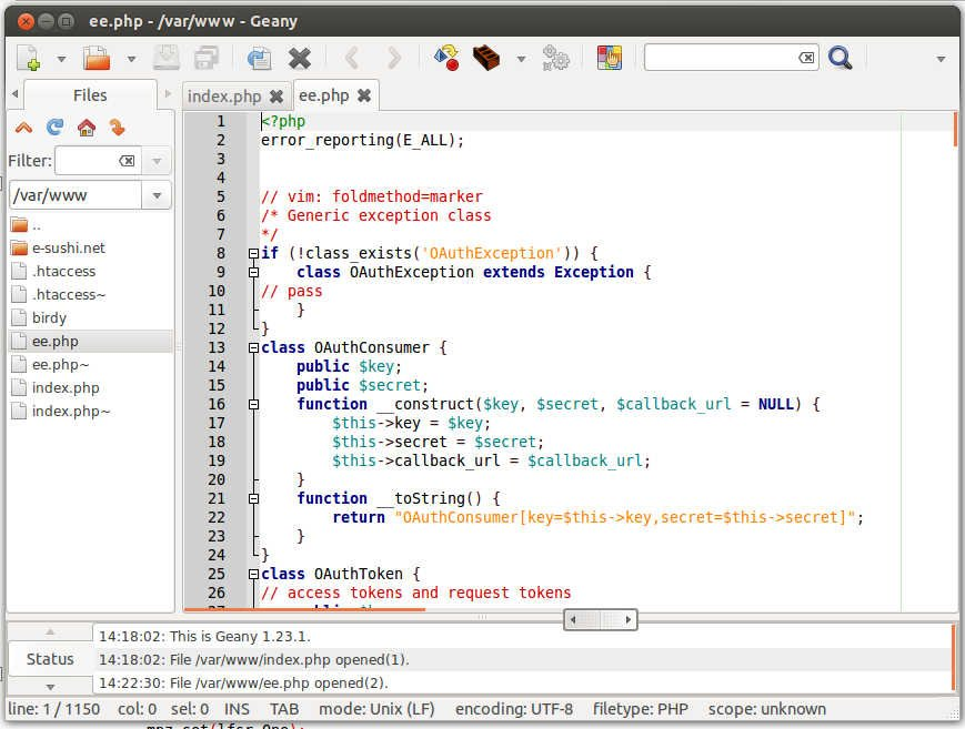Screenshot of Geany running on my desktop, showing an open PHP file