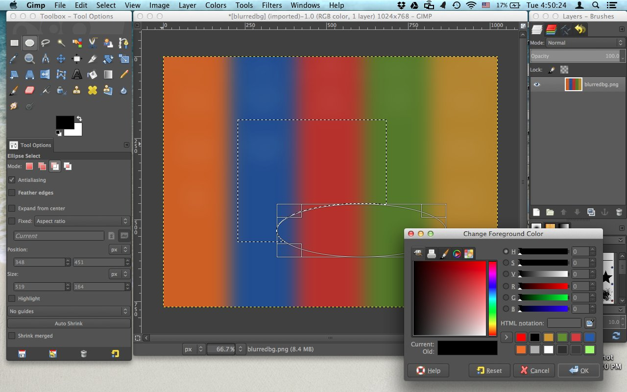 GIMP UI with Change Foreground Color Editor open