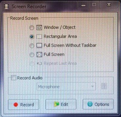 Screen recorder menu